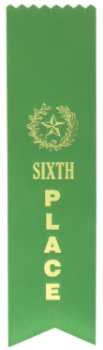 6TH PLACE GREEN PINKED TOP RIBBON