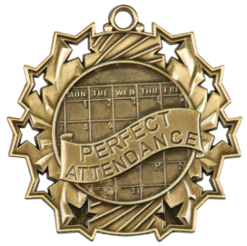 PERFECT ATTENDANCE TEN STAR ACADEMIC MEDAL