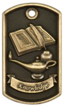LAMP OF KNOWLEDGE 3D DOG TAG
