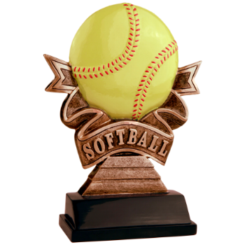 Softball Ribbon Resin