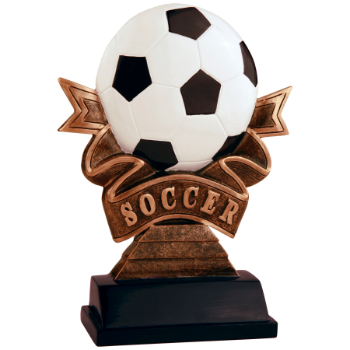 Soccer Ribbon Resin Award