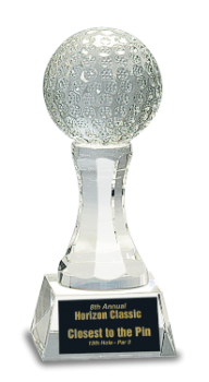 Crystal Golf Ball on Clear Pedestal