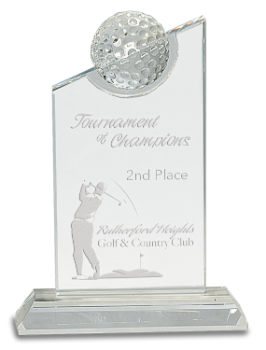 Crystal with inset Golf Ball on Clear Base