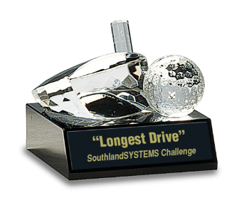 Crystal Golf Ball & Club Paperweight