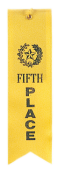 5th Place Yellow Carded Ribbon with String