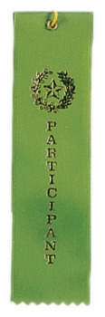 Participant Green Carded Ribbon with String