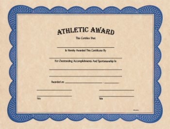 Athletic Award Certificate
