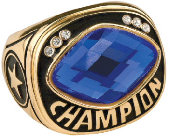 Blue Cut Glass Champion Ring