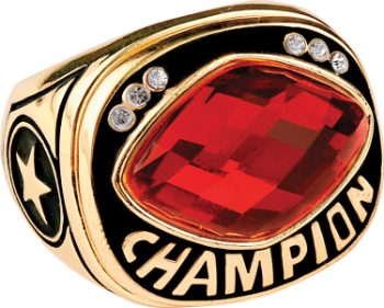 Red Cut Glass Champion Ring