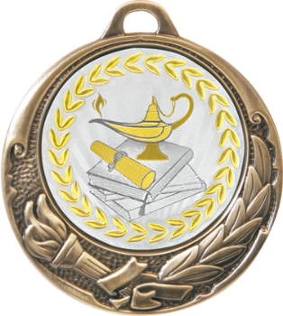 Metallic Lamp of Knowledge Medal