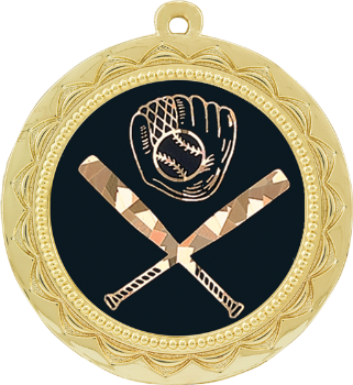 Black/Gold Baseball or Softball Medal
