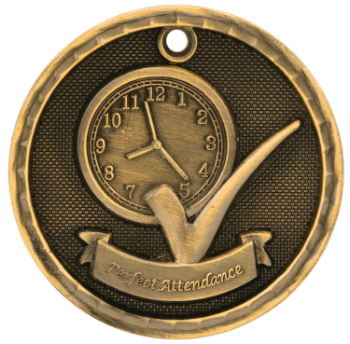 Perfect Attendance 3D Medal