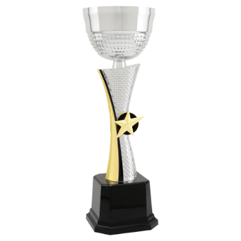11 3/4 Silver & Gold Textured Metal Cup Trophy